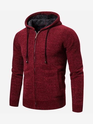 Men's Cardigan Pocket Loose Going Out Long Sleeve Hooded Colorblock Zipper Casual