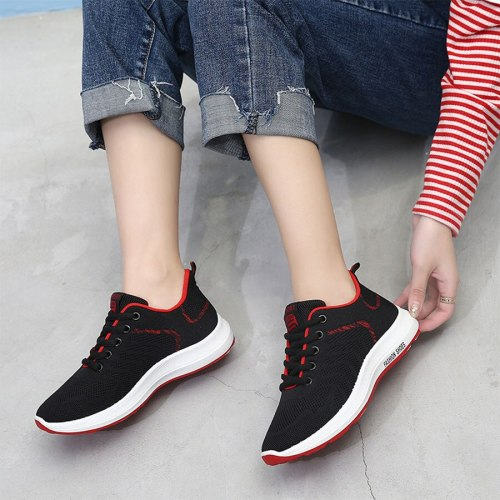 Women's Sports Shoes Breathable Fashion Casual Flat0-3cm Simple Color Block Wear-resistant 3 cm Lacing Strappy Beach Mesh Youth14-30Age Rubber Sole