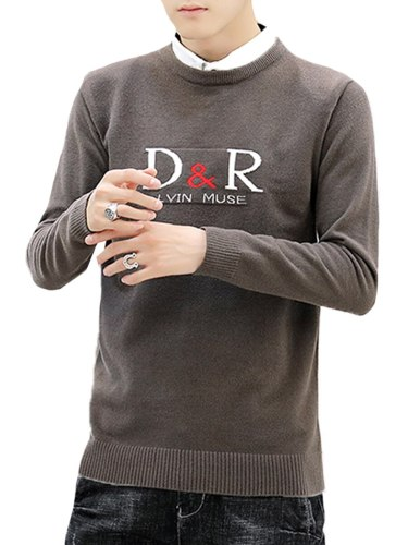 Men's Sweater Print Crew Neck Letter Plus Size Casual Long Sleeve