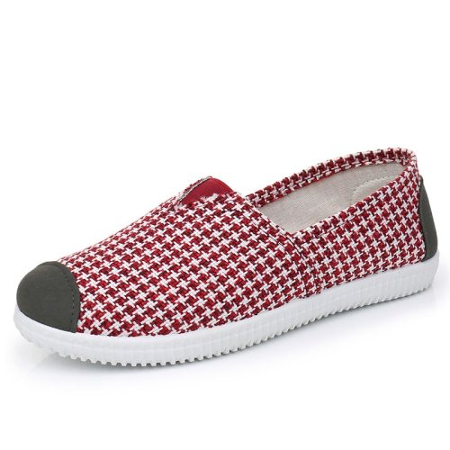 Women's Loafers Checker Pattern Breathable Flat Flat0-3cm Canvas Top Fashion Others Stripes Sports & Leisure EVA Sole Slip-On Light Platforms 2 cm
