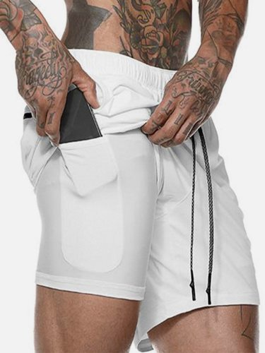 Men's Active Shorts Waist Double Layer Sport Thin Patchwork Elastic Waist Drawstring Pocket Mid Waisted Fashion