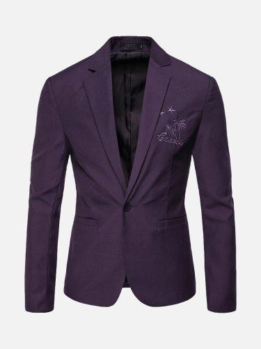 Men's Blazer Collar Long Sleeve Pattern Blazers Embroidery Single Button Slim Notched