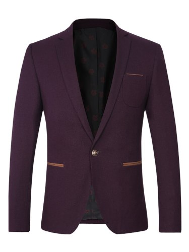 Men's Blazer Fashion Color All Match Comfy Button Single Button Solid Notched Blazers