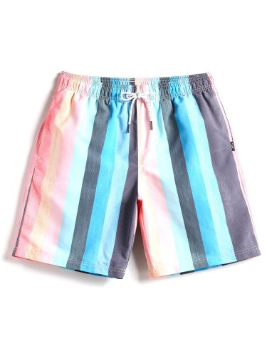 Men's Quick Drying Shorts Patchwork Color Block Drawstring Waist Breathable Beach Mid Waist