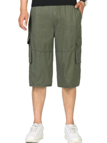 Men's Plus Size Casual Shorts Fashion All Match Simple Three Quarters Loose Solid Mid Waisted Zipper