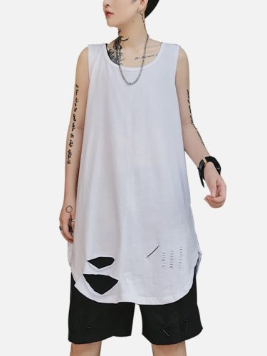 Men's Tank Fashion Solid Color Long Going Out Loose Crew Neck Casual