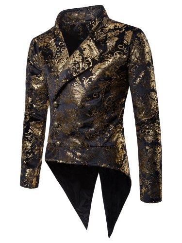 Men's Blazer Turn Down Collar Floral Print Long Sleeve Double Breasted Button Notched Party Blazers