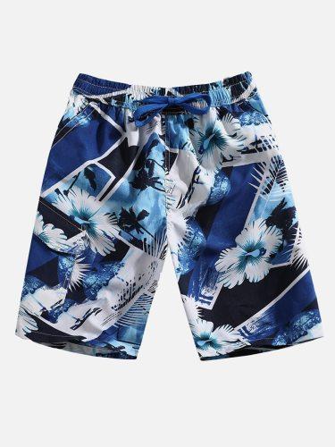 Men's Beach Printed Leisure Loose Shorts Colorblock Quick Dry Drawstring Mid Waist Plus Size