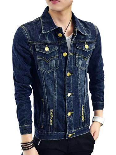Men's Denim Jacket Button Pocket Frayed Turn Down Collar Solid Slim Plus Size Long Sleeve Fashion Rivet