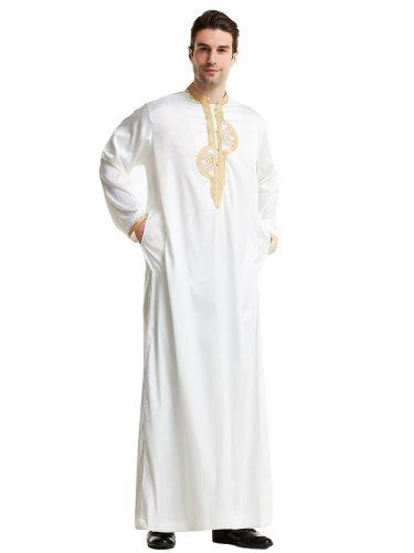 Men's Kaftan Dress Silk Like Maxi Embroidery Stand Collar Long Sleeve