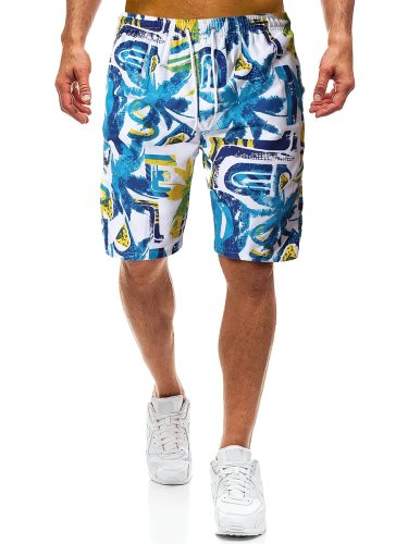 Men's Beach Leaves Print Fifth Quick-Dry Drawstring Colorblock Mid Waist Breathable Loose Shorts