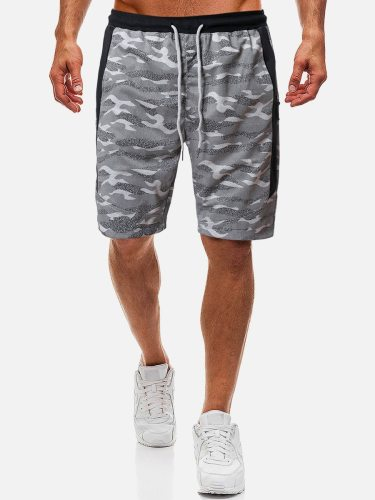 Men's Shorts Fashion Camouflage Short Patchwork Elastic Waist Mid Waisted