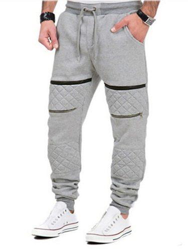 Men's Casual Pants Trendy Street Elements Popular Elastic Mid Waist Sports Skinny Formal Slim Full Length Mid Waisted