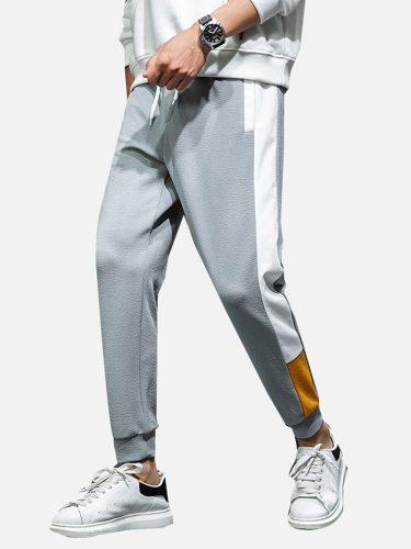 Men's Harem Pants Color Block Pocket Drawstring Waist Skinny Mid Waisted Sports Elastic Waist Casual Full Length