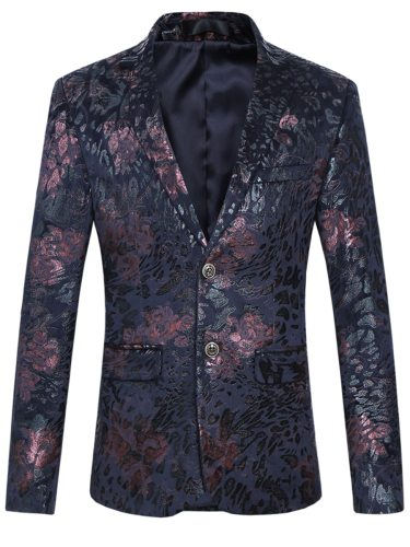 Men's Blazer Vintage Flowers Pattern Trendy Personalized Plus Size Embroidery Fashion Colorblock Single Breasted Notched