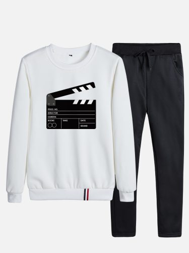 Men's 2Pcs Pants Set Sweatshirt Solid Color Straight Leg Casual Long Sleeve Plus Size Crew Neck Print Thicken