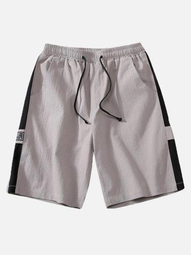Men's Casual Shorts Fashion Drawstring Pocket Mid Waisted Colorblock Elastic Waist