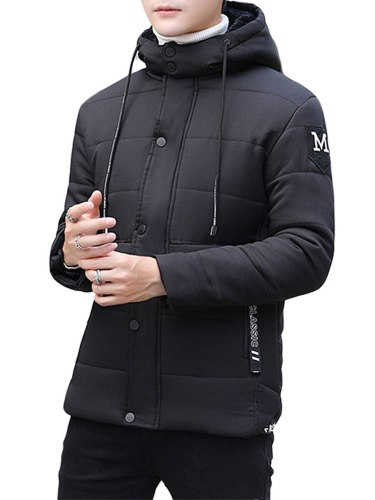Men's Quilted Coat Casual Letter Print Thicken Buttons Going Out Long Sleeve Fashion Slim Coats Hooded