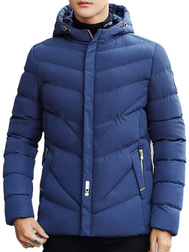 Men's Quilted Coat Solid Color Patchwork Going Out Turn Down Collar Long Sleeve Casual Zipper Coats