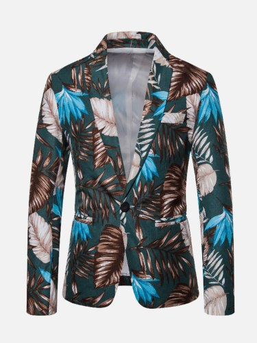 Men's Blazer Long Sleeve Print Casual Single Breasted Notched Blazers Colorblock