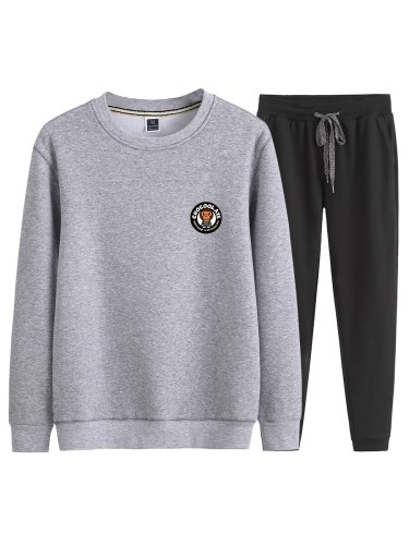 Men's 2Pcs Set Print Sweatshirt Long Harem Pants Animal Long Sleeve Crew Neck Casual Loose