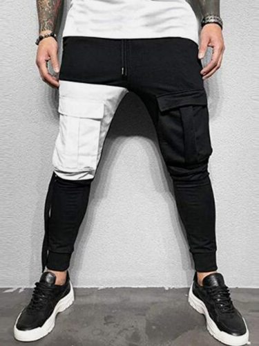Men's Pants Color Block Patchwork Pocket Going Out Ankle-Tied Drawstring Waist Casual Mid Waisted Full Length