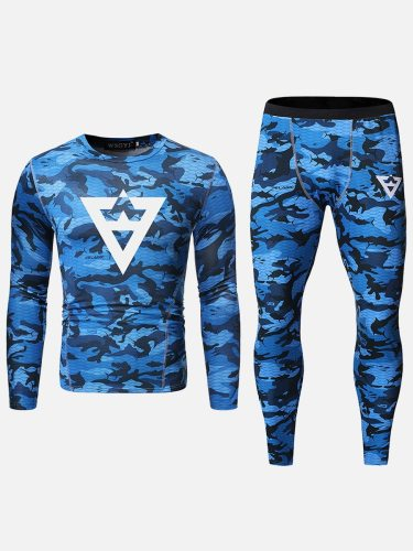 Men's 2Pcs Print Sweatshirt Crew Neck Casual Long Sleeve Camouflage Skinny Sports