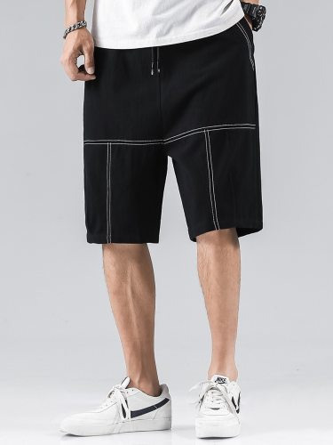 Men's Shorts Casual Solid Color Pockets Mid Waist Patchwork Loose Elastic Waist Mid Waisted