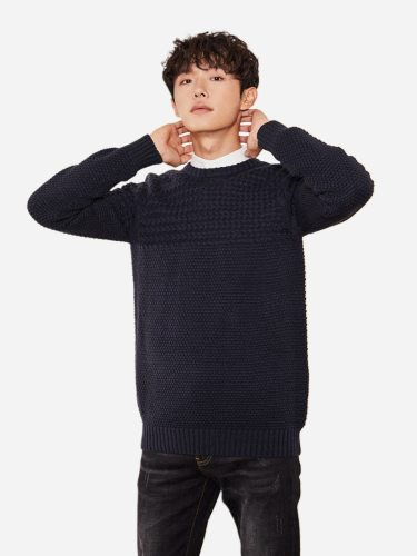 Tonlion Men's Sweater Comfy Simple Design All Match Casual Crew Neck Long Sleeve