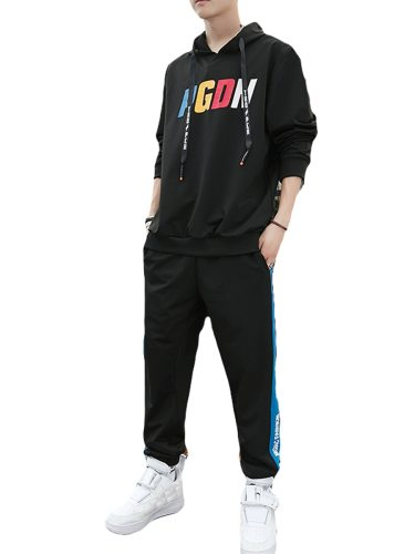 Men's 2 Pieces Set Floral Print Color Block Hoodie Active Pants Striped Casual Sports Long Sleeve