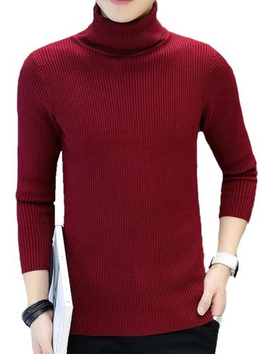 Men's Sweater Turtle Neck Solid Color Fashion Turn Down Collar Casual Slim Long Sleeve Plus Size Striped