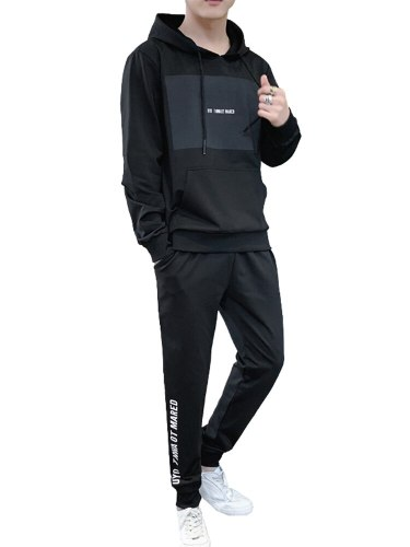 Men's 2Pcs Hooded Letter Hoodie Waist Drawstring Going Out Print Long Sleeve Casual