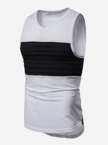 Men's Tank Colorblock Sleeveless Fashion V Neck Patchwork Going Out Slim