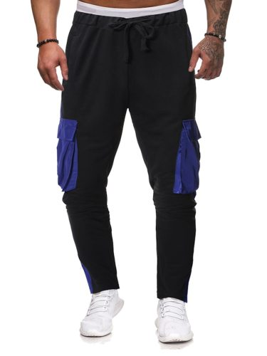 Men's Skinny Pants Pocket Color Block Patchwork Going Out Drawstring Waist Casual Mid Waisted Straight Full Length