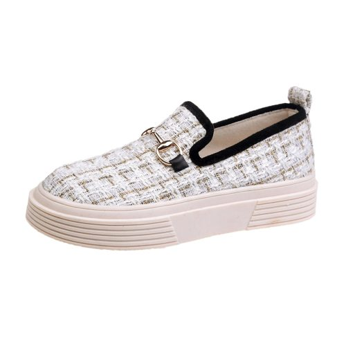 Women's Loafers Checker Pattern Flat Comfortable Date 3 cm Rubber Sole Suede Others Check Pattern Platforms Youth14-30Age Flat0-3cm Light Slip-On