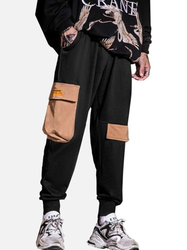 Men's Harem Pants Patchwork Pocket Ankle-Tied Mid Waisted Drawstring Waist Casual Loose Full Length