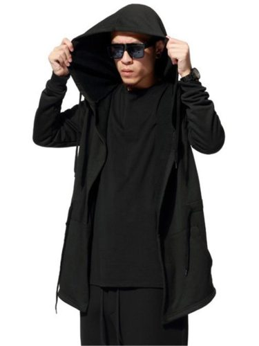 Men's Coat All Match Loose Hooded Coats Fashion Long Sleeve Plus Size