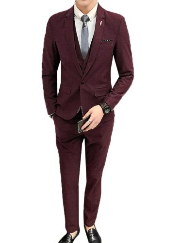 Men's 3Pcs Collar Blazer Vest Jacket Solid Suit Notched Single Button Casual Going Out Plus Size Slim