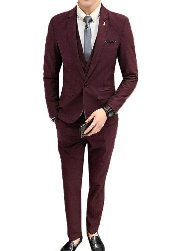 Men's 3Pcs Collar Blazer Vest Jacket Solid Suit Notched Single Button Casual Going Out Plus Size Slim