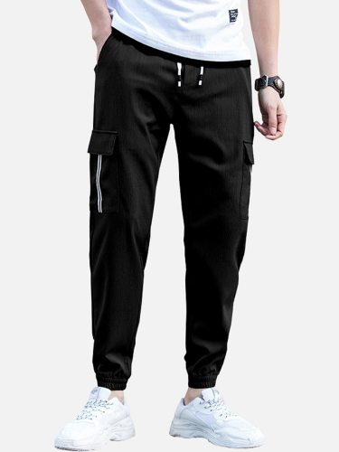 Men's Pants Fashion Ankle Tied Pocket Casual Full Length Mid Waisted School Elastic Waist Ankle-Tied