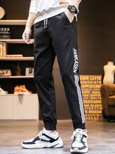 Men's Pants Fashion Stripe Pattern All-Match Mid Waisted Full Length Casual Ankle-Tied Drawstring Waist