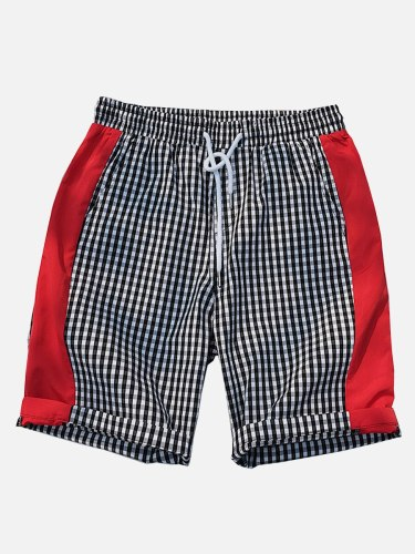 Men's Casual Shorts Patchwork Color Block Drawstring Waist Striped Plaid Mid Waisted Elastic Waist