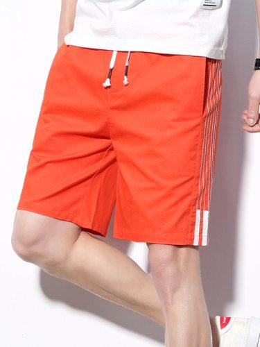 Men's Shorts Pocket Drawstring Striped Short Mid Waisted Date Patchwork Drawstring Waist