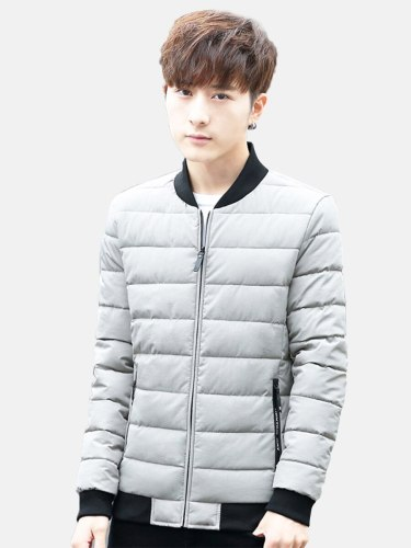 Men's Quilted Coat Solid Color Going Out Fashion Long Sleeve Coats Zipper Stand Collar