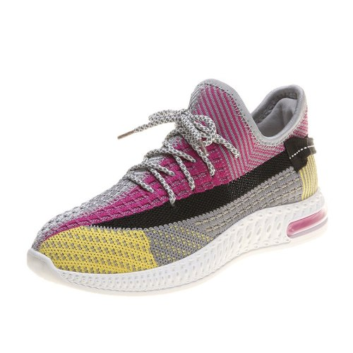 Women's Sports Shoes Breathable Fashion Light Middle Age30-50 Fiber Mesh 35 cm Office EVA Sole Lacing Color Block Sweet Sport Shoes/Sneakers
