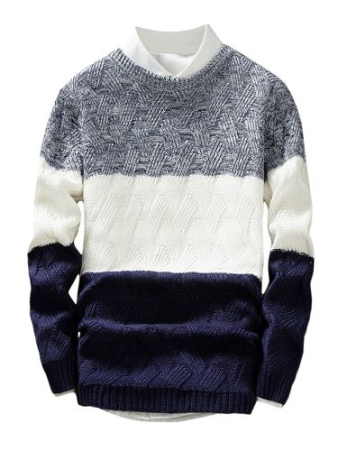 Men's Pullover Color Block Long Sleeve Crew Neck Fashion Going Out Colorblock