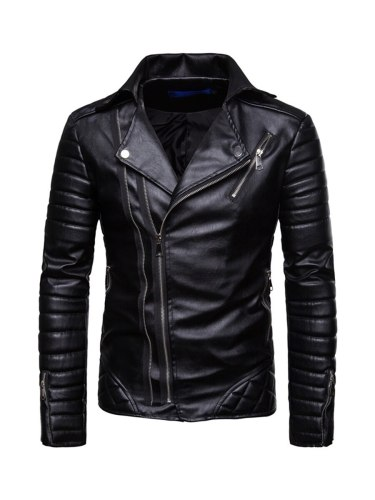 Men's Synthetic Leather Jacket Notched Collar Color Long Sleeve Slim Zipper Casual Solid