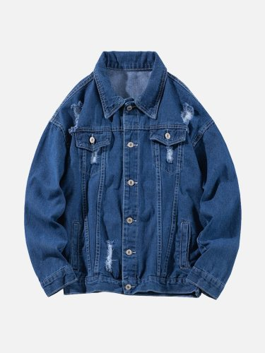 Men's Denim Jacket Casual Fashion Long Sleeve School Turn Down Collar