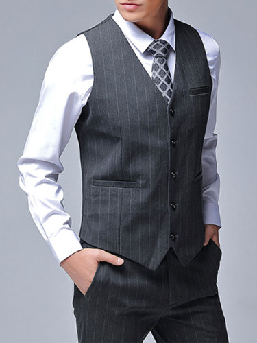 Men's 3Pcs Striped Pattern Vest Jacket Blazer Suit Single Breasted Formal Notched Slim Button Vest Pocket Notched Collar Set