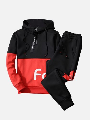 Men's Two Pieces Pants Set Colorblock Letter Zipper Hoodie Drawstring Pocket Pants Print Going Out Casual None Long Sleeve